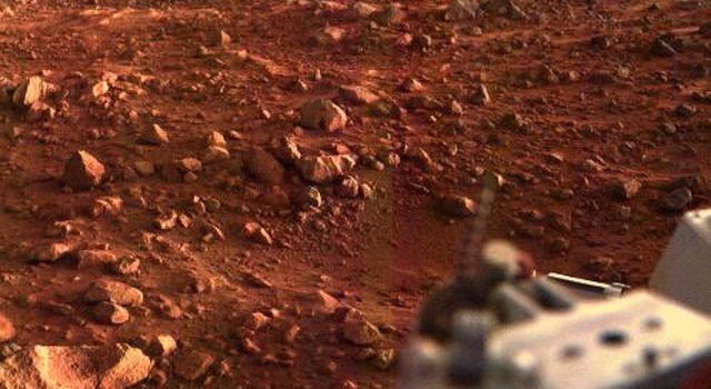 This color image of the Martian surface in the Chryse area was taken by NASA's Viking Lander 1, looking southwest, about 15 minutes before sunset on the evening of August 21, 1997.
