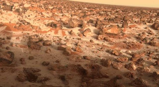 This high-resolution color photo of the surface of Mars was taken by NASA's Viking Lander 2 at its Utopia Planitia landing site on May 18, 1979, and relayed to Earth by Orbiter 1 on June 7.