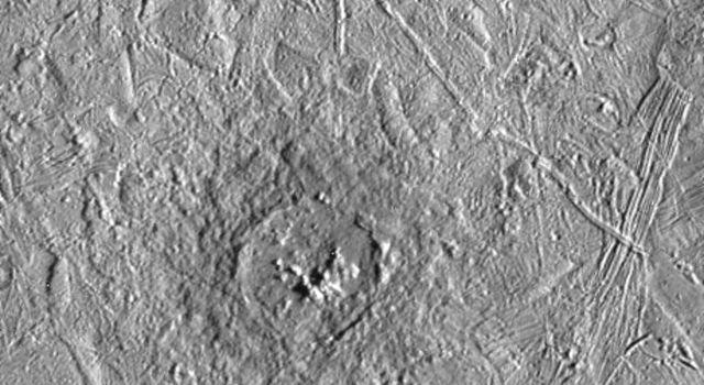 Pwyll crater on Jupiter's moon, Europa, was photographed by the Solid State Imaging system on NASA's Galileo spacecraft during its sixth orbit around Jupiter.