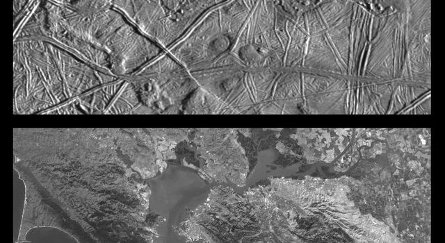 These images compare Jupiter's icy moon, Europa, to the same location on earth, the San Francisco Bay are of California, from NASA's Galileo spacecraft.