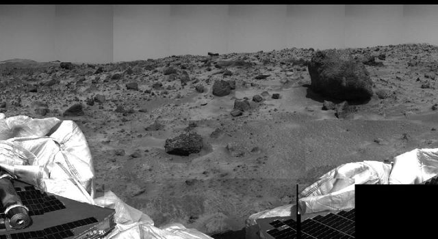 This image of the Martian surface was taken by the Imager for NASA's Mars Pathfinder (IMP) before sunset on July 4, 1997 (Sol 1), the spacecraft's first day on Mars.