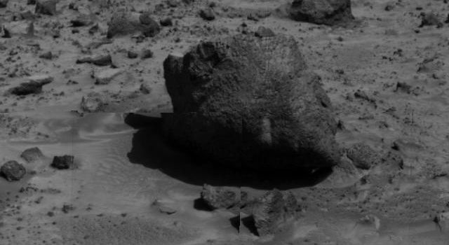 'Yogi,' a rock taller than rover Sojourner, is the subject of this image, taken by NASA's deployed Imager for Mars Pathfinder (IMP) on July 7, 1997.