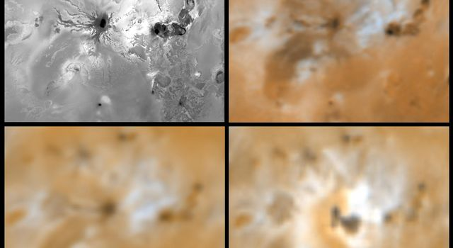 Four views of the volcano Ra Patera on Jupiter's moon Io showing changes seen on June 27th, 1996 by NASA's Galileo spacecraft as compared to views seen by the Voyager spacecraft during the 1979 flybys.