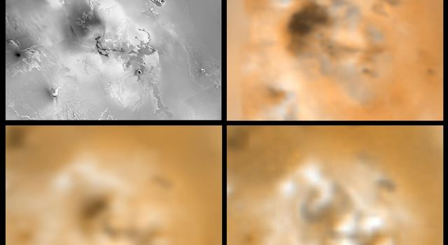 Four views of an unnamed volcanic center (latitude 11, longitude 337) on Jupiter's moon Io showing changes seen on June 27th, 1996 by NASA's Galileo spacecraft as compared to views seen by the Voyager spacecraft during the 1979  flybys.