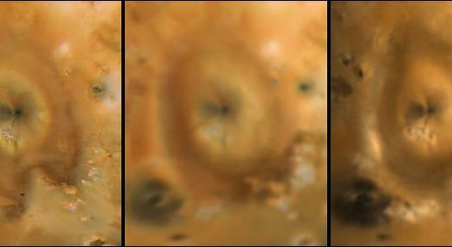 These frames detail the changes around Pele on Jupiter's moon Io, as seen by NASA's Voyager 1 (left), Voyager 2 (middle), and Galileo (right). The Voyager frames were taken in 1979, the Galileo view was obtained in June, 1996.