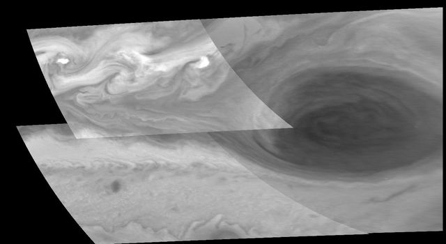 Turbulent region west of Jupiter's Great Red Spot. This four image mosaic shows the Great Red Spot on Jupiter's eastern edge or limb as seen by NASA's Galileo orbiter d on June 26, 1996.