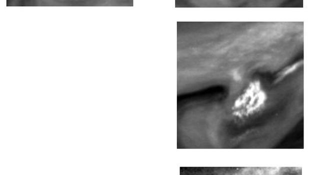 These two images of Jupiter's atmosphere were taken by NASA's Galileo spacecraft on June 26, 1996. The bright white spot in the center of each image is to the northwest of Jupiter's Great Red Spot (GRS).