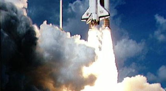 Liftoff of STS-34 Atlantis, carrying NASA's Galileo spacecraft and its Inertial Upper Stage (IUS) booster on October 18, 1989 at 12:35 p.m. EDT. P-35036BC