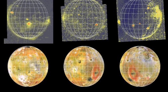 The three images of Io in eclipse (top) show volcanic hot spots and airglow associated with volcanic plumes and Io's atmosphere. They were acquired by NASA's Galileo spacecraft during three separate orbits of Jupiter when the Io was in Jupiter's shadow.