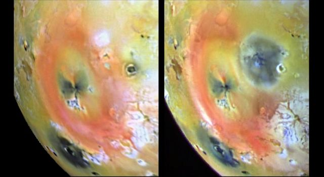 These images of Jupiter's volcanic moon, Io, show the results of a dramatic event that occurred on the fiery satellite during a five-month period (April 4-Sept 19, 1997.