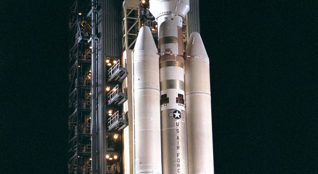 This image from 1997 is of the Titan IVB/Centaur carrying NASA's Cassini spacecraft at Launch Complex 40 on Cape Canaveral Air Station, the Mobile Service Tower has been retracted away.