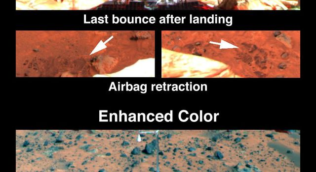 Disturbance of the drift at NASA's Mars Pathfinder's landing site reveals a shallow subsurface that is slightly darker but has similar spectral properties.