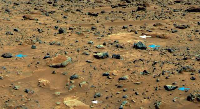 In 1997, NASA's Mars Pathfinder took this picture of three classes of Martian rock: large rounded rocks with weathered coatings, small gray angular rocks lacking weathered coatings, and flat white rocks.