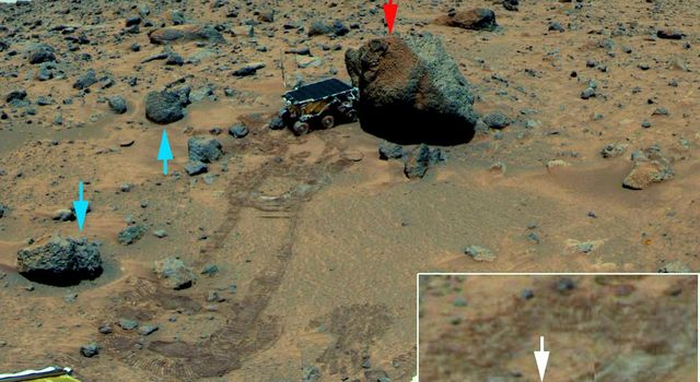 This scene, taken by NASA's Mars Pathfinder in 1997, shows the rover deployed at rock 'Yogi,' the colors have similarly been enhanced to bring out differences. The same three kinds of rocks are recognized as in the distance.