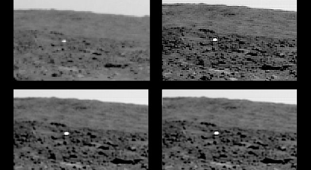 These images show NASA's Mars Pathfinder's backshell to the southeast of the lander, and in front and to the left of 'Big Crater' after landing on Mars in 1997.