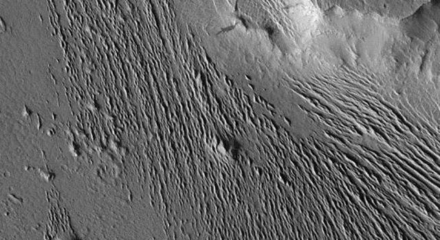 Extensive wind-swept plains of the Medusae Fossae formation on Mars are seen in this image from NASA's Mars Global Surveyor Orbiter.