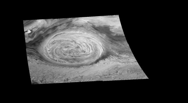 This mosaic of the Great Red Spot on Jupiter from NASA's Galileo orbiter was taken over an 80 second interval beginning at universal time 14 hours, 30 minutes, 23 seconds, on June 26, 1996.