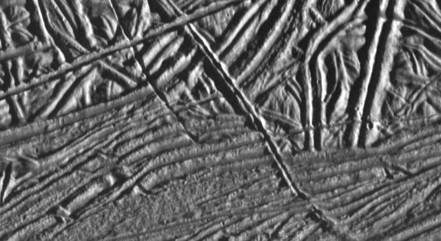 This image of Jupiter's moon Europa shows a very complex terrain of ridges and fractures. NASA's Galileo spacecraft obtained this image on February 20, 1997.