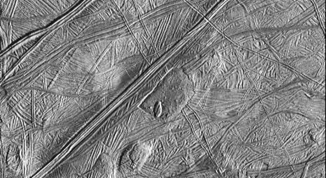 The Solid State Imaging system aboard the NASA's Galileo spacecraft took this image of the surface of Europa on   February 20, 1997 during its sixth orbit around Jupiter.