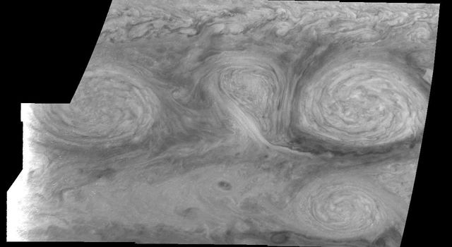 These images, taken on February 19, 1997 by NASA's Galileo orbiter, show two of the three long-lived White Ovals that formed to the south of the Jupiter's Great Red Spot.