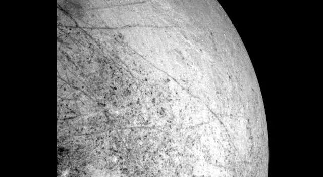 This image of Europa's leading hemisphere was obtained by the solid state imaging system onboard NASA's Galileo spacecraft during its seventh orbit of Jupiter on April 3, 1997.