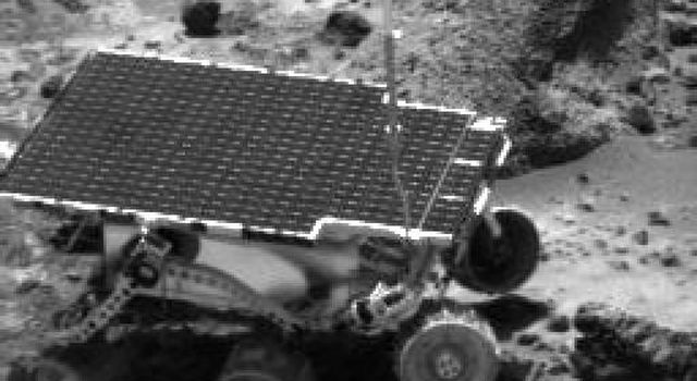 This image obtained by NASA's Imager for Mars Pathfinder (IMP) of the Sojourner rover was taken near the end of daytime operations on Sol 41. Sol 1 began on July 4, 1997.