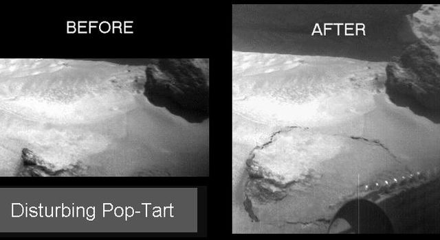 NASA's Sojourner rover's front right camera imaged Pop-tart, a small rock or indurated soil material which was pushed out of the surrounding drift material by Sojourner during a soil mechanics experiment. Sol 1 began on July 4, 1997.