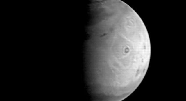 This image is the first of a sequence of Mars to be taken by NASA's Mars Global Surveyor Orbiter Camera (MOC) between August 19 and August 21, 1997.