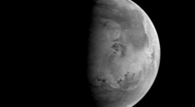 NASA's Mars Orbiter Camera (MOC) took this image on August 20, 1997, when the Mars Global Surveyor (MGS) was 5.67 million kilometers (3.52 million miles) and 22 days from entering orbit.
