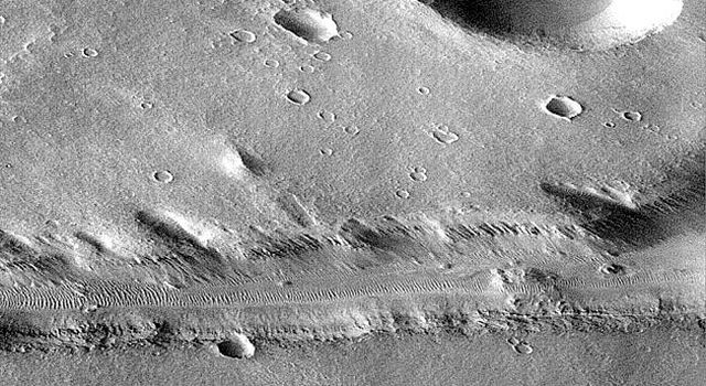 On September 21, 1997, NASA's Mars Global Surveyor captured this view of Nirgal Vallis, one of a number of canyons called valley networks or runoff channels.