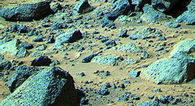 This false color composite image from NASA's Mars Pathfinder (MPF) of the Rock Garden shows the rock 'Shark' at upper right.