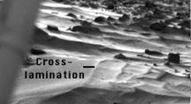 This image taken by NASA's Mars Pathfinder 1997 mission is of so-called wind drifts seen at the Viking 1 landing site.