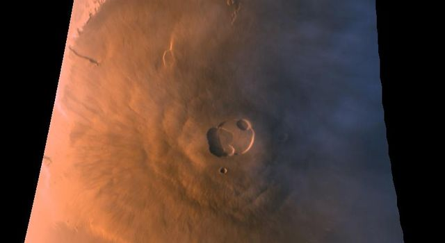 This view from NASA's Mars Global Surveyor shows Olympus Mons, the largest of the major Tharsis volcanoes on the red planet.