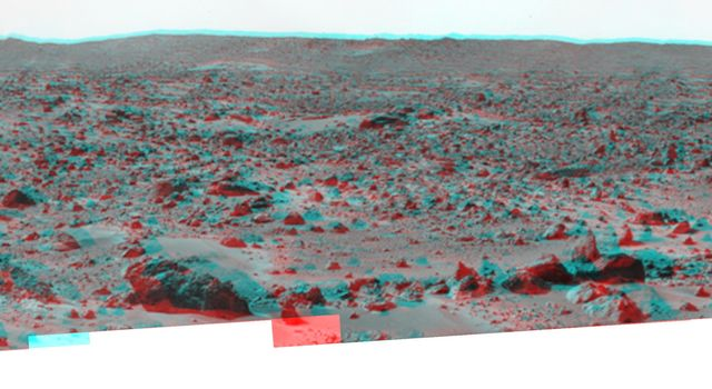 'Big Crater' is actually a relatively small Martian crater to the southeast of NASA's Mars Pathfinder landing site. 3D glasses are necessary to identify surface detail.