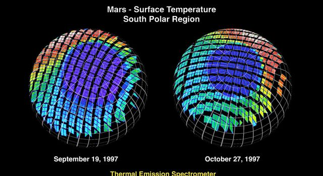 The surface temperature at Mars' south polar region is seen in this image from NASA's Mars Global Surveyor.