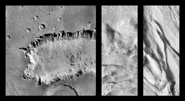 NASA's Mars Global Surveyor captured this image showing the floor of western Ganges Chasma in Valles Marineris.