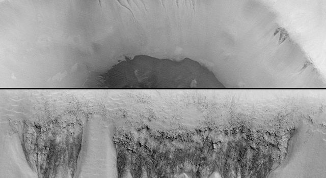 The first clue that there might be places on Mars where liquid groundwater seeps out onto the surface came from a picture taken by NASA's Mars Global Surveyor. 3D glasses are necessary to identify surface detail.