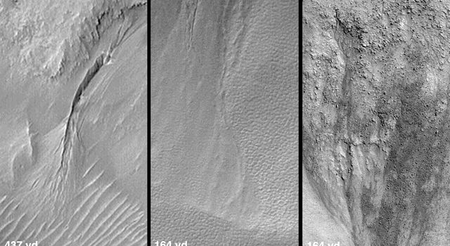 These views captured by NASA's Mars Global Surveyor are from northwestern Elysium Planitia in the martian northern hemisphere thought to dry gullies.