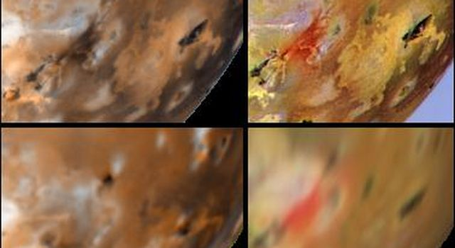 Detail of changes around Marduk on Jupiter's moon Io as seen by NASA's Voyager 1 in 1979 (upper left) and NASA's Galileo spacecraft between June 1996 (lower left) and September 1996 (upper and lower right).