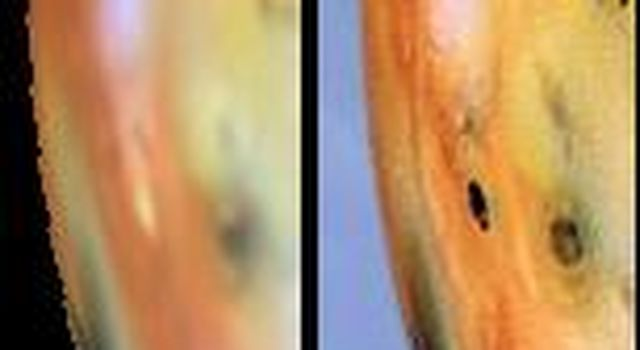 Detail of changes east of Pele on Jupiter's moon Io as seen by NASA's Galileo spacecraft between June (left) and September (right) 1996.