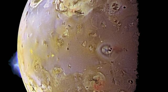 This color image, acquired during NASA's Galileo ninth orbit (C9) around Jupiter, shows two volcanic plumes on Io. One plume was captured on the bright limb or edge of the moon, erupting over a caldera named Pillan Patera.
