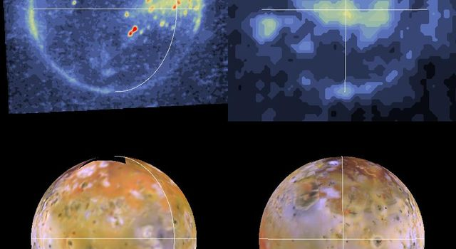Shown here are color-coded images of Io in eclipse (top). The images were acquired by NASA's Galileo spacecraft during its tenth orbit around Jupiter.