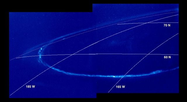 Images captured by NASA's Galileo spacecraft show the Jovian aurora on the night side of the planet. The upper bright arc is auroral emission seen 'edge on' above the planetary limb with the darkness of space as a background.