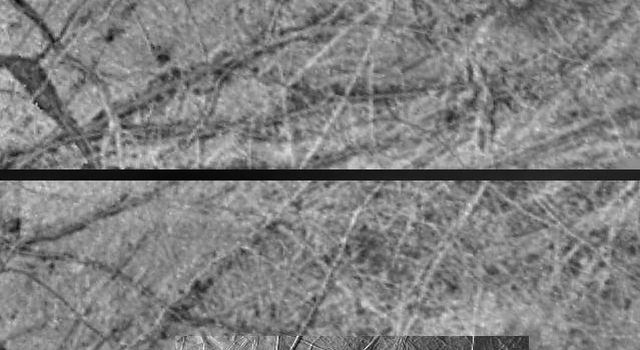 These images obtained by the Solid State Imaging (CCD) system aboard NASA's Galileo spacecraft show the same region of Europa under different lighting conditions.