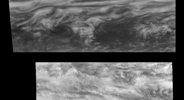 Time Sequence of a belt-zone boundary near Jupiter's equator. These mosaics images captured by the Solid State Imaging system aboard NASA's Galileo spacecraft show Jupiter's appearance at 757 nanometers (near-infrared).