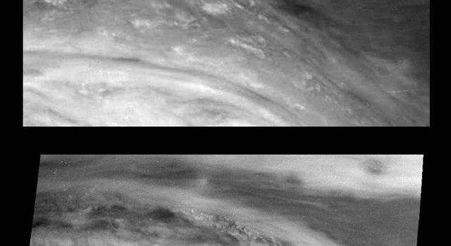 Images from NASA's Galileo spacecraft show the Northeast quadrant of Jupiter's Great Red Spot in June and November 1996. The top panel shows the region in near-infrared light in June and the bottom shows the same region at 757 nanometers in November.
