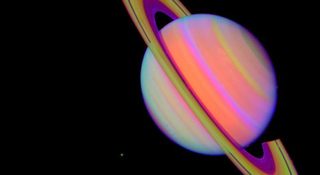 NASA's Voyager 2 took this 'false color' photograph of Saturn on July 21, 1981, when the spacecraft was 33.9 million kilometers (21 million miles) from the planet.