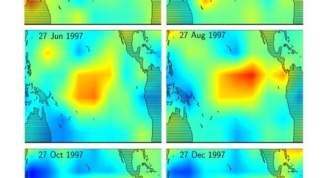 This series of six images shows the movement of atmospheric water vapor over the Pacific Ocean during the formation of the 1997 El Niño condition.