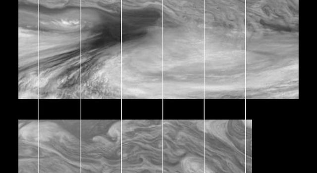 Time sequence of Jupiter's equatorial region at 756 nanometers. The mosaics taken by the Solid State Imaging system aboard NASA's Galileo spacecraft cover an area of 34,000 kilometers by 22,000 kilometers and were taken ten hours apart.