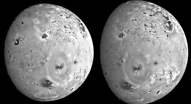 These two views of Io were acquired by NASA's Galileo spacecraft during its seventh orbit (G7) of Jupiter. The images were designed to view large features on Io at low sun angles when the lighting conditions emphasize the topography.